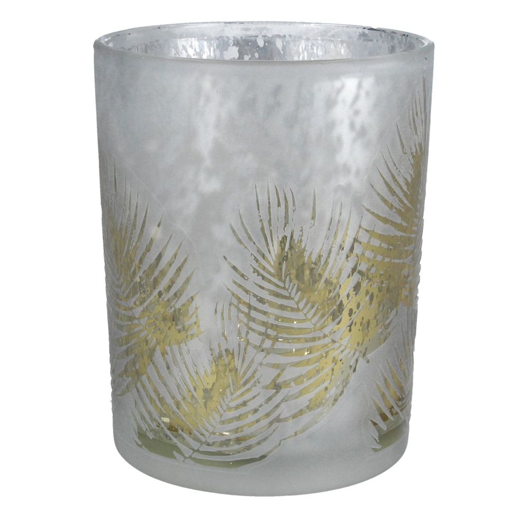 A Small Green & Silver Fern Shadow T-Light Candle Holder - 8cm tall x 7.5cm