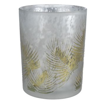 A Small Green & Silver Fern Shadow T-Light Candle Holder - 8cm tall x 7.5cm diameter