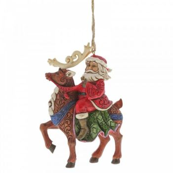 Jim Shore's Heartwood Creek, Santa Riding Reindeer hanging decoration - 11.5cm tall x 3.5cm wide x 8cm deep