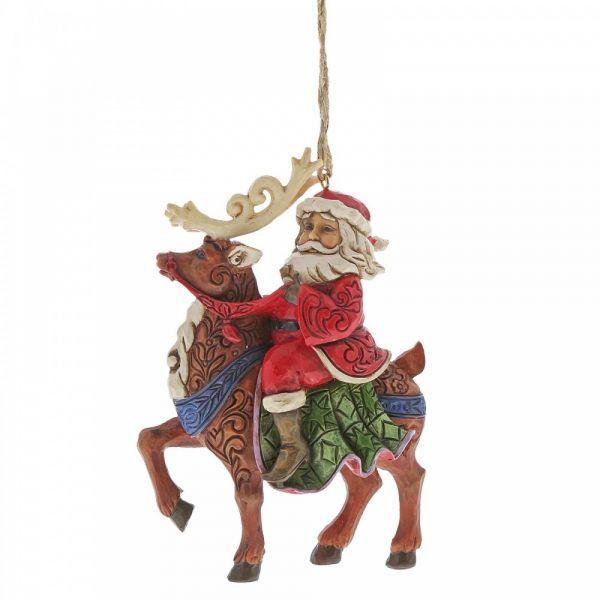 Jim Shore's Heartwood Creek  - Santa Riding Reindeer - 11.5cm tall x 3.5cm