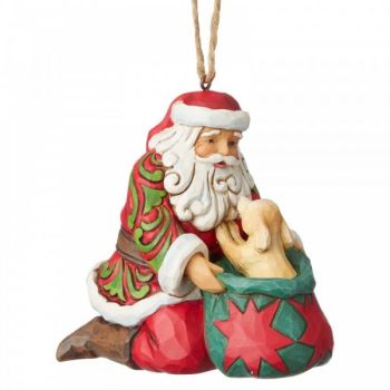 Jim Shore's Heartwood Creek, Santa with Puppy hanging ornament- 9cm tall x 6cm wide x 8.5cm deep