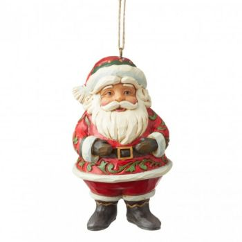 Jim Shore's Heartwood Creek, Mini Jolly Santa hanging decoration - 10.5cm tall x 5.5cm wide x 5.5cm deep