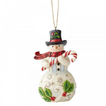 Jim Shore's Heartwood Creek, Snowman with Candy Cane hanging ornament- 12cm tall x 7.5cm wide x 5cm deep