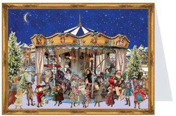 Victorian Carousel Advent Calendar Card - 15cm x 11cm