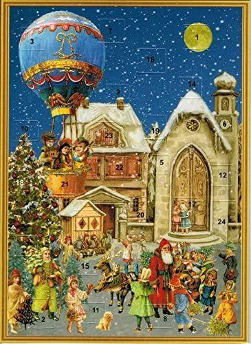Victorian Village Scene with Hot Air Balloon Advent Calendar Card - 15cm x