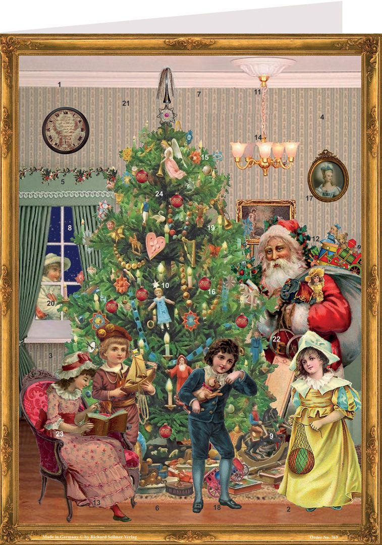 Victorian Christmas Tree Advent Calendar Card - 15cm x 11cm