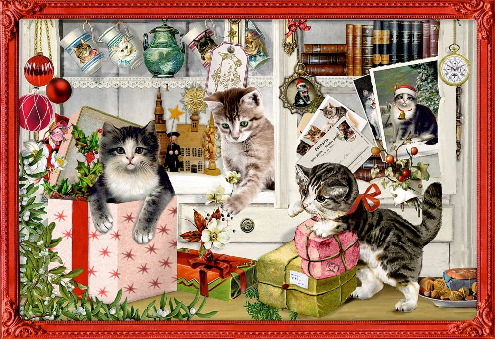 Cats & Kitten Christmas Scene Advent Calendar Card - 16.5cm x 11.5cm