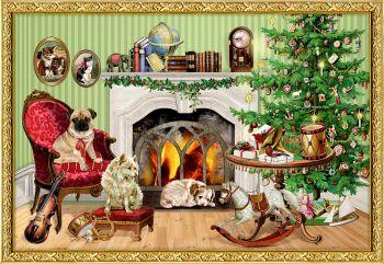 Victorian Dogs Christmas Scene Advent Calendar Card - 16.5cm x 11.5cm