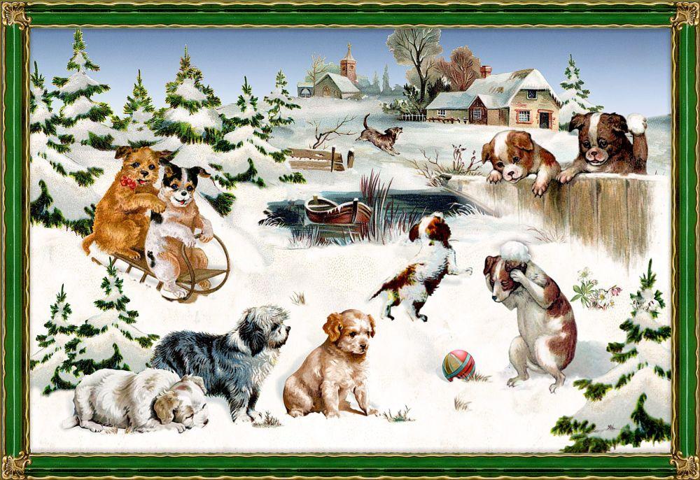 Playful Dogs in a Countryside Christmas Scene Advent Calendar Card - 16.5cm