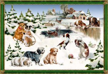 Playful Dogs in a Countryside Christmas Scene Advent Calendar Card - 16.5cm x 11.5cm