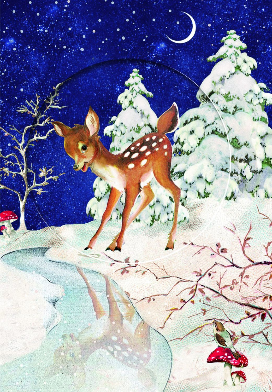Bambi Reindeer Advent Calendar Card  with Glitter Window - 16.5cm x 11.5cm