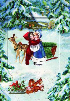 Woodland Friends Snow Scene Advent Calendar Card  with Glitter Window - 16.5cm x 11.5cm