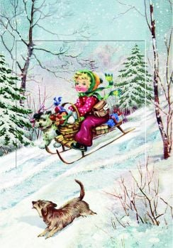 Woodland Friends & Dogs Snow Scene Advent Calendar Card  with Glitter Window - 16.5cm x 11.5cm