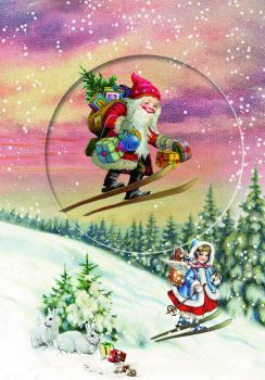 Skiing Santa Snow Scene Advent Calendar Card  with Glitter Window - 16.5cm x 11.5cm