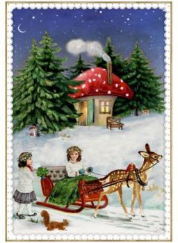 Beautiful Snow Scene with Sleigh, Mushroom House & Deer Advent Calendar Card - 16.5cm x 11.5cm