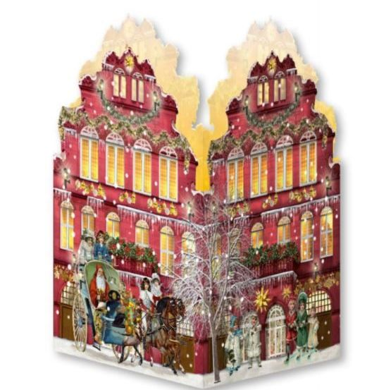 Advent Calendar Card Lantern with Snowman & Village Scene - 16.5cm x 11.5cm