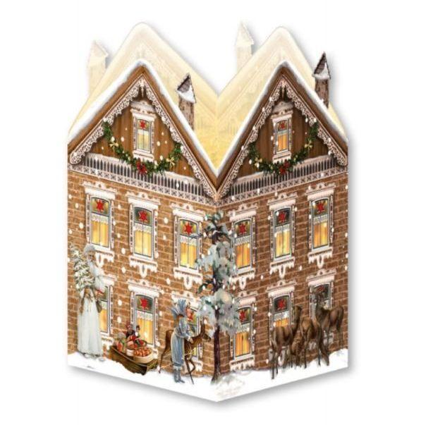 Advent Calendar Card Lantern with Santa, Reindeer & Village Scene - 16.5cm