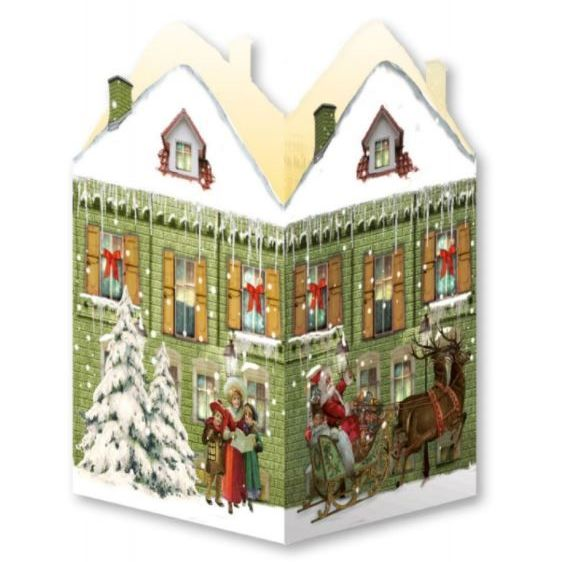 Advent Calendar Card Lantern with Santa on his Sleigh, Carol Singers & a Vi