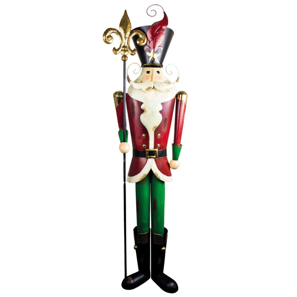 Awesome Extra Large Metal Santa Soldier with his Staff - 194cm tall