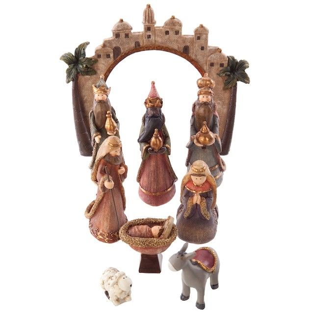 Free Standing Nativity Scene with 9 pieces
