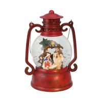 Red Lantern Nativity Scene Music Box Snowglobe