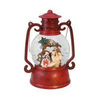 Red Lantern Nativity Scene Music Box Snowglobe