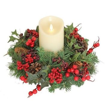 Beautiful Handmade Candle Wreath or Small Door or Wall Berry Wreath - Approx. 30cm diameter