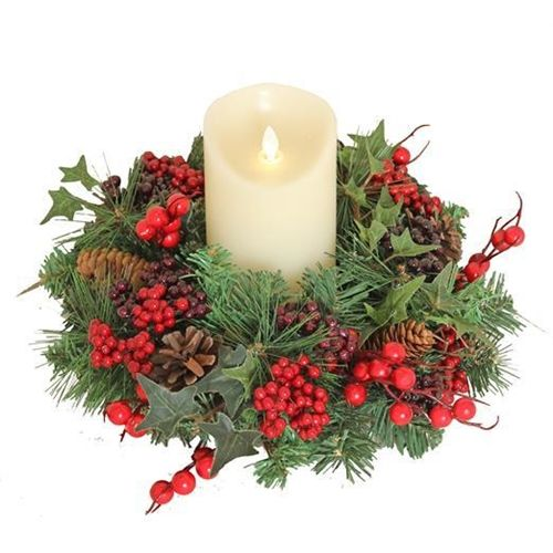 Beautiful Handmade Candle Wreath or Small Door or Wall Berry Wreath - Appro