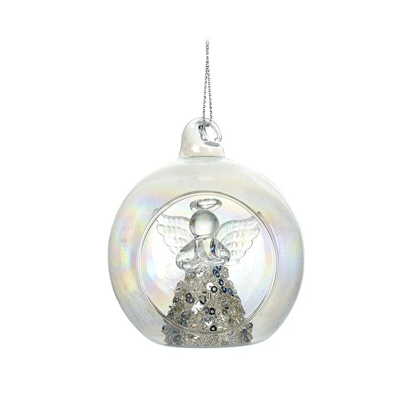 A Beautiful Glass Angel with a Silver Sequinned & Glitter Dress inside a Ba