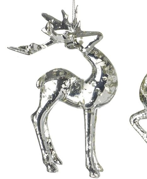 A Beautiful Glass Deer Stag with a Silver Crackled Finish.