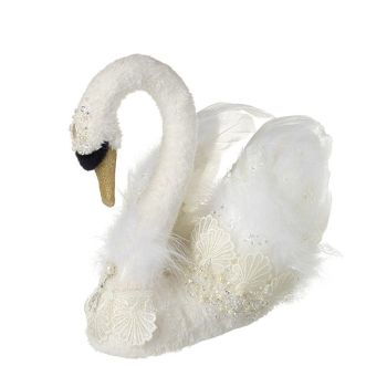 Exquisite White Swan Decoration. Size 33cm x 23cm x 30cm