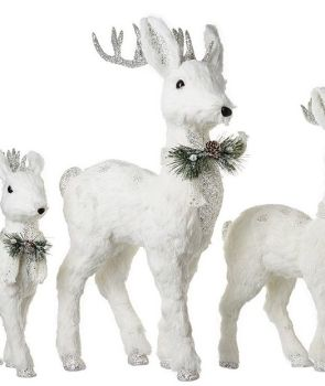 Beautiful Large White Deer Decoration. Size 64cm tall x 38cm long x 16cm wide