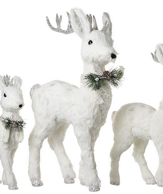 Beautiful Large White Deer Decoration. Size 64cm tall x 38cm long x 16cm wi