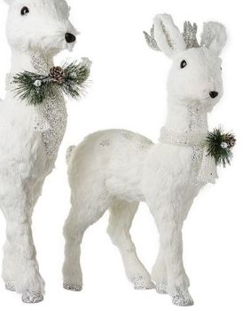 Beautiful Medium White Deer Decoration. Size 52cm tall x 31cm long x 15cm wide