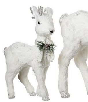 Beautiful Small White Deer Decoration. Size 42cm tall x 23cm long x 12cm wide