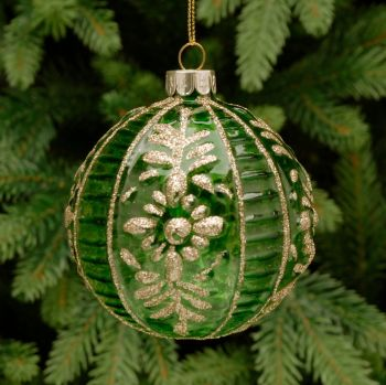 Green Glass Ribbed and Floral Bauble - 8cm
