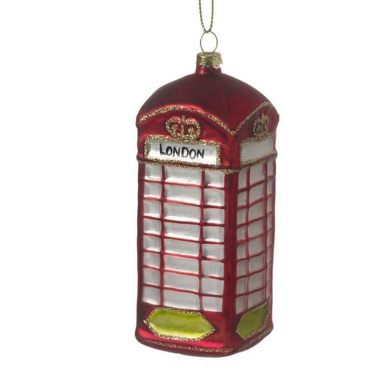 London Red Glass Telephone Box - 11cm x 4.5cm x 4.5cm