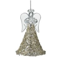 Stunning Champagne Gold Glass Angel with beautiful fluted dress.