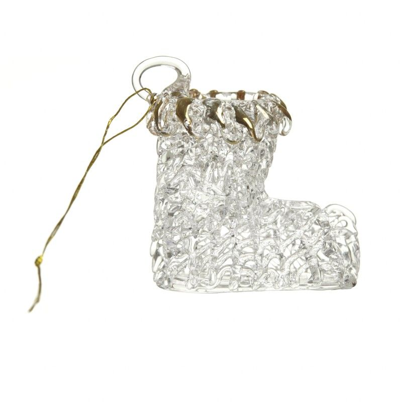 Gold & Clear Glass Stocking Boot.