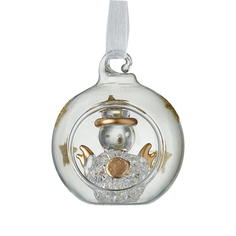 A Beautiful Glass Snowman with Gold Glitter Stars inside a Bauble.