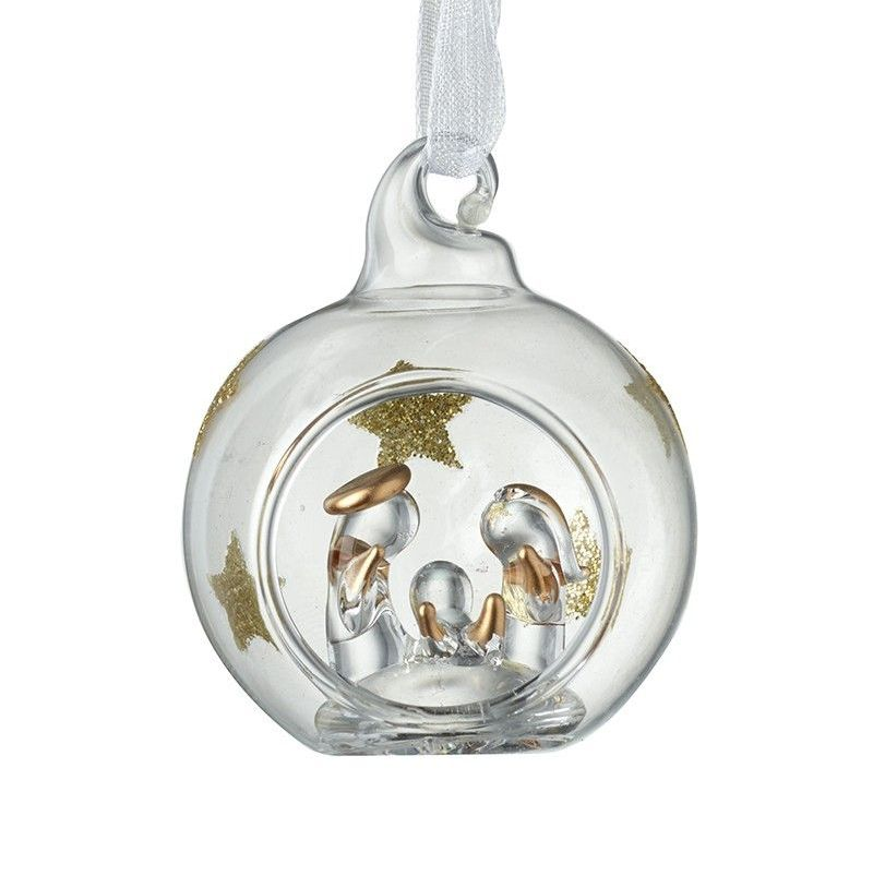 A Beautiful Glass Nativity Scene with Gold Glitter Stars inside a Bauble.