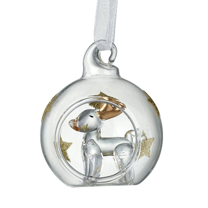 A Beautiful Glass Reindeer with Gold Glitter Stars inside a Bauble.