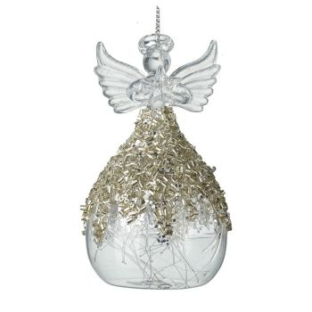 Beautiful Champagne Gold Encrusted Glass Angel with beautiful glass hair dress.