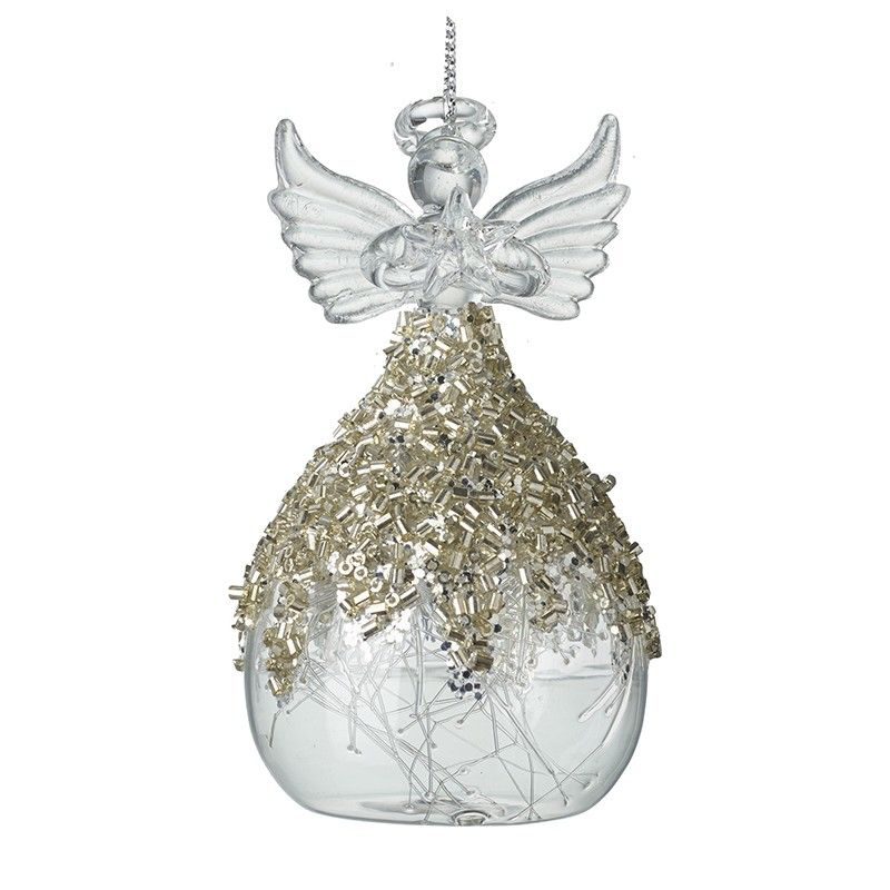 Stunning Champagne Gold Glass Angel with beautiful glass hair dress.