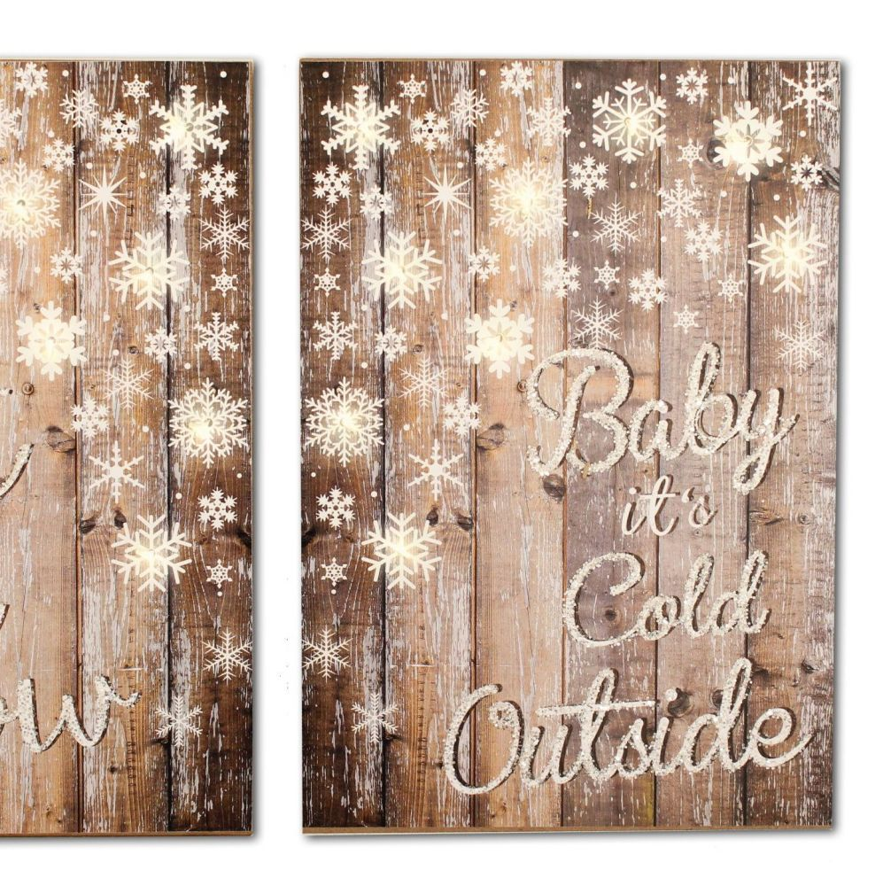 Lovely Cosy Wooden Light Up Sign, 'Baby it's Cold Outside'.