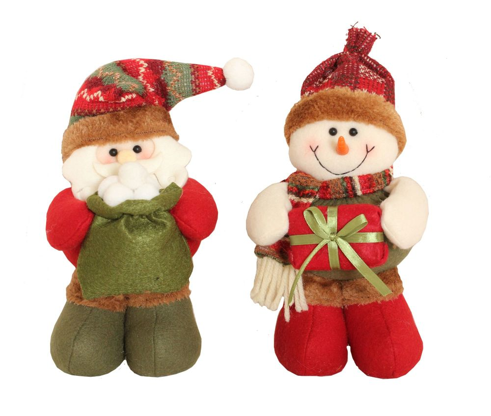 Cute Standing Soft Father Christmas holding a sack full of Snowballs - 27cm