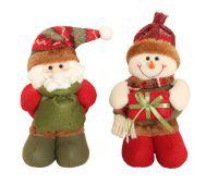 Cute Standing Soft Father Christmas holding a sack full of Snowballs - 27cm tall x 11cm wide x 12cm deep