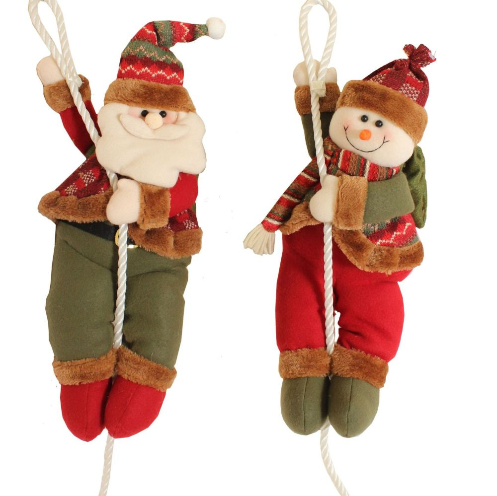 Cute Hanging Soft Snowman on a rope Christmas Decoration - 55cm tall.