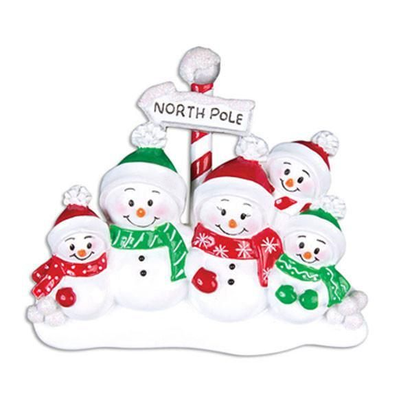 Ceramic Christmas North Pole Family of 5, Personalise for your family or a