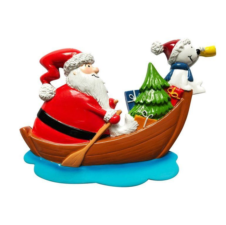 Ceramic Jolly Santa in his boat with his Snow Dog, Gifts and Christmas Tree